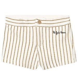 Emile et Ida Ecru + Gold Lurex Striped Shorts